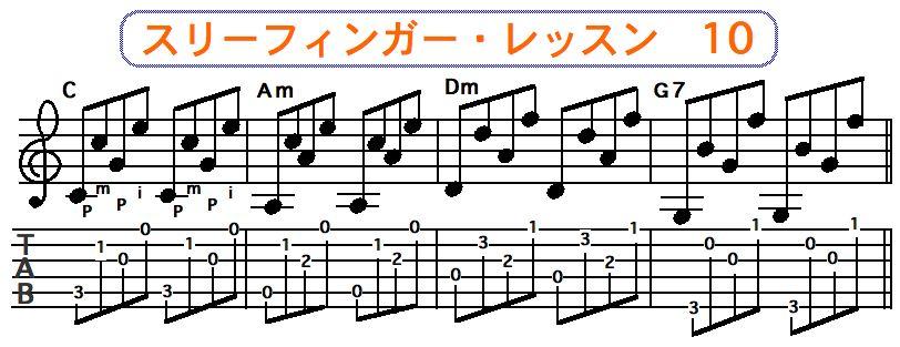 スリーフィンガーピッキング奏法 10