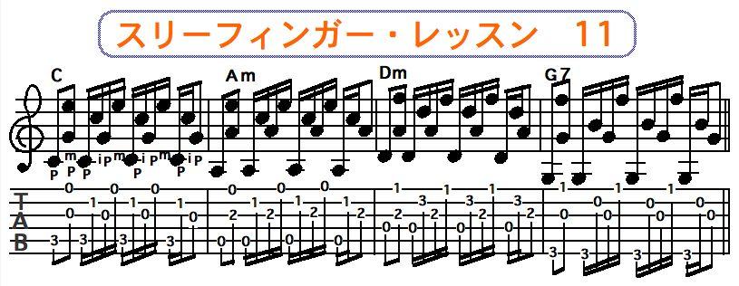 スリーフィンガーピッキング奏法 11
