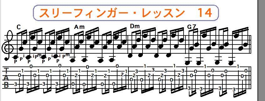 スリーフィンガーピッキング奏法 14