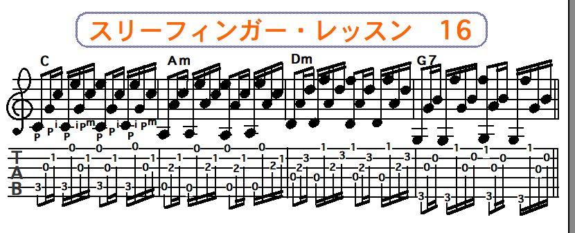 スリーフィンガーピッキング奏法 16