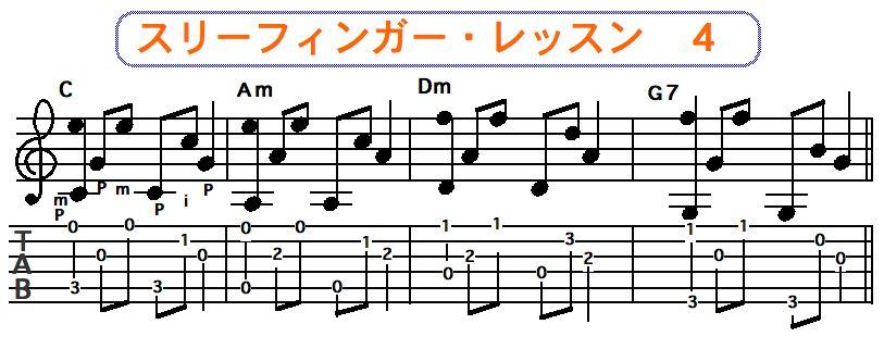 スリーフィンガーピッキング奏法 4
